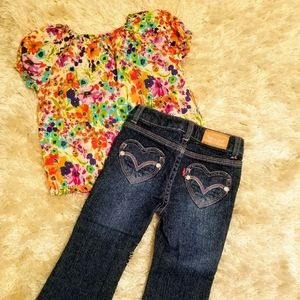 Pink stitch Levi's and flower top size 2T